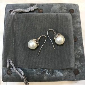 Classic upscale sterling & faux pearl earrings